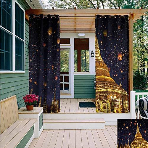 AFGG Curtains for BedroomLantern Shwedagon PagodaWaterproof Patio Door PanelW84x96L