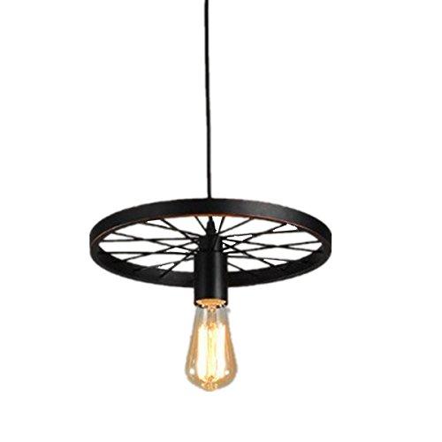 BININBOX Industrial Edison 1-Light Wheel Pendant Metal Iron Hanging Ceiling Fixture Lamp Chandelier Country Painting Vintage Steampunk Loft Black