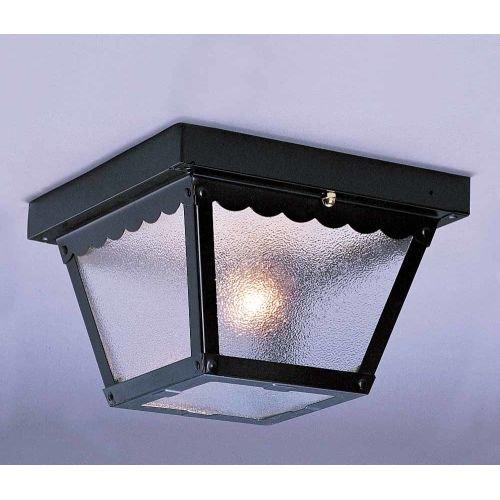 Volume Lighting V7231 1 Light Flush Mount Outdoor Ceiling Fixture Black