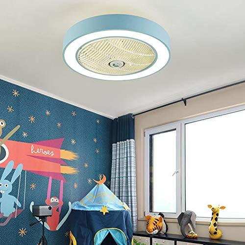OUYAWEI Home APP Control 110V 220V Macarons Color LED Celling Light Fan for Restaurant Kids Room Bedroom Blue 55CM