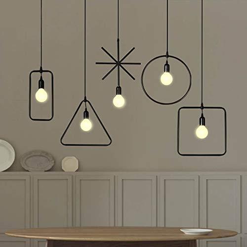 RONSHIN Geometric Industrial Style LED Celling Lamp Pendant Light for Restaurant Shop Living Room Hallway Bar Black Square 5W LED Bulb