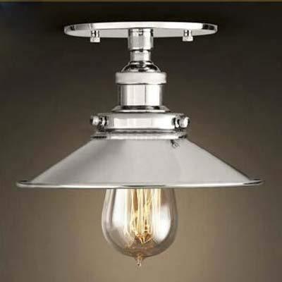 Semi-Flush Mount Lamp 22Cm E27 Celling Light Kitchen Lamp Ceiling Fixture Industrial Lighting Polished Chrome Household