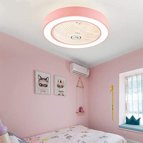 XuBa APP Control 110V 220V Macarons Color LED Celling Light Fan for Restaurant Kids Room Bedroom Pink 55CM