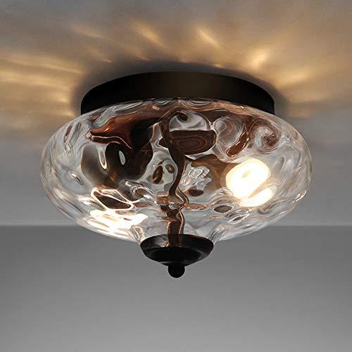 EDISLIVE Modern 2-Light Hammered Glass Flush Mount Light Pendant Ceiling Light Fixture 102 Indoor Ceiling Light for Hallyway Foyer Bedroom