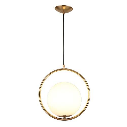JinYuZe Round Pendant LightGoldBlack 1-Light Indoor Ceiling Light Fixture with White LampshadeGold