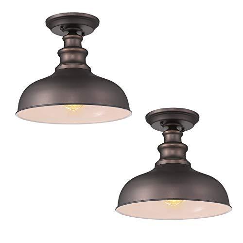 Zeyu Semi Flush Mount Ceiling Light 2 Pack Farmhouse Indoor Flush Ceiling Light in Oil Rubbed Bronze Finish 02A391-2PK ORB