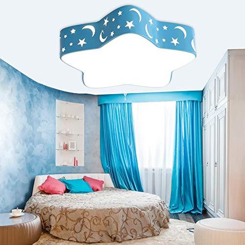 Chandelier 24W White LED Ceiling Lamp Acrylic Energy Saving Eye Five-Pointed Star Bedroom Light Living Room Cute Child Ceiling Light LPLHJD Color  Blue