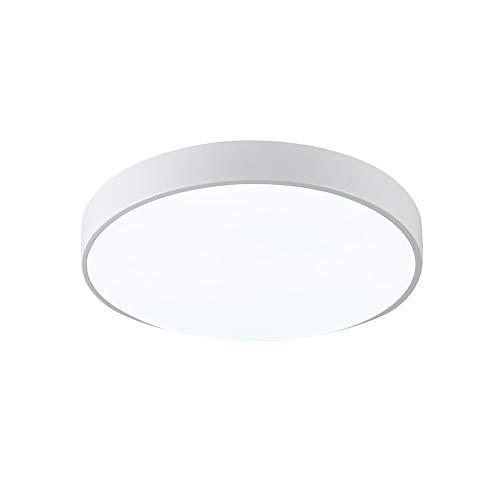 SAISHUO Flush Mount Ceiling Light Round 118inch 18W 6000K Cold White LED Ceiling Light for Bedroom Living Room Hallway Kitchen Office White