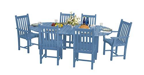 Eco Poly Outdoor Furniture Classic 7-Piece Set Powder Blue
