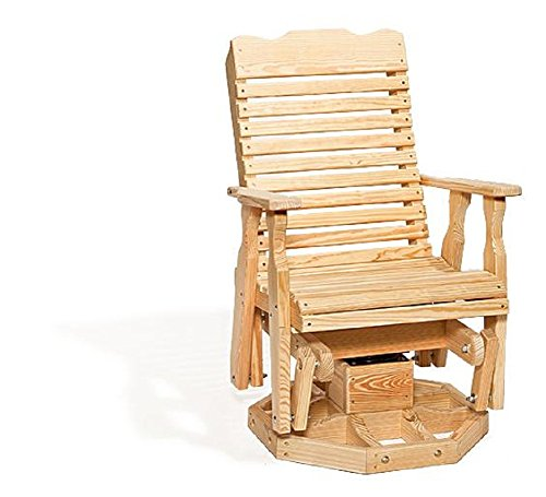 Leisure Lawns Poly Outdoor Furniture Curve Back Pine Wood Swivel Glider Chair Natural