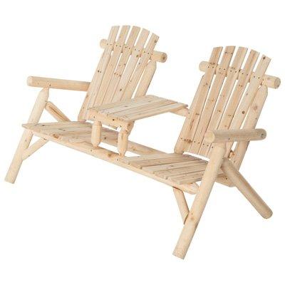 Double Cedarfir Log Adirondack Chair With Table Model Ss-csn-150