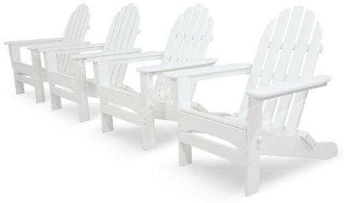 Ivy Terrace Ivs104-1-wh Classics 4-piece Folding Adirondack Conversation Set White