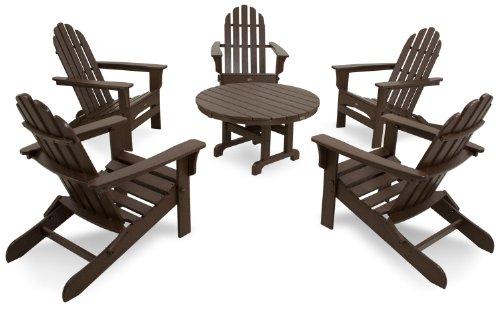 Trex Outdoor Furniture TXS115-1-VL Cape Cod 6-Piece Folding Adirondack Conversation Set Vintage Lantern