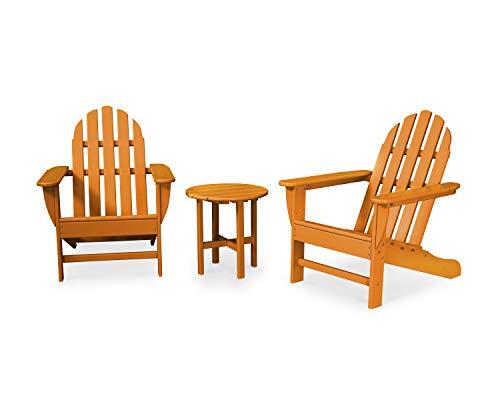 POLYWOOD PWS417-1-TA Classic 3-Piece Adirondack Seating Set Tangerine