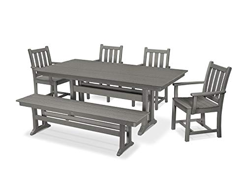 POLYWOOD Traditional Garden 6-Piece Farmhouse Dining Set with Bench Slate Grey