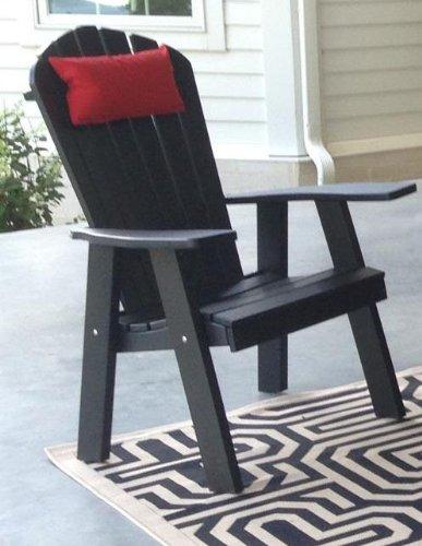 POLY Folding Reclining Adirondack Chair - Amish Made USA - Black