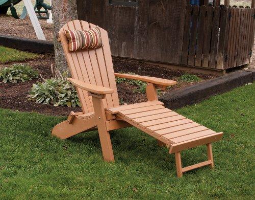 Poly Foldingamp Reclining Adirondack Chair W Attached Ottoman - Amish Made Usa - Aruba Blue