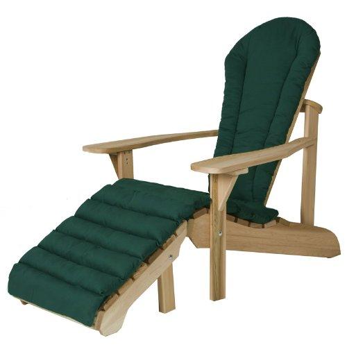 All Things Cedar Adirondack Chair And Ottoman Set with Green Cushion