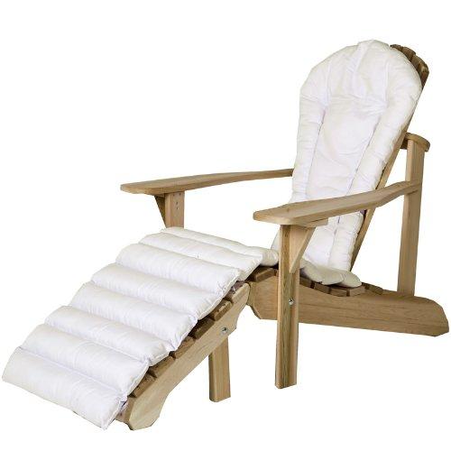 All Things Cedar Adirondack Chair And Ottoman Set with White Cushion