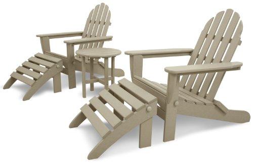 Ivy Terrace IVS119-1-SA Classics 5-Piece Folding AdirondackOttoman Set Sand