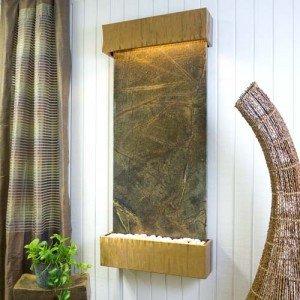 Bluworld Classic Quarry Vertical Indoor Wall Fountain - Rainforest Green Marble