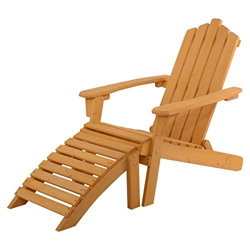 Giantex Wood Adirondack Chair w Ottoman Outdoor Patio Deck Garden Lounge Furniture