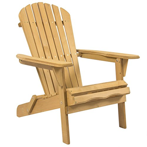 Outdoor Adirondack Wood Chair Foldable Patio Lawn Deck Garden Furniture