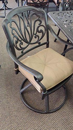 Elizabeth Dining Chair Swivel Rocker Solid Cast Aluminum Powder Coated Dark Bronze Set of 4 Walnut Cushions