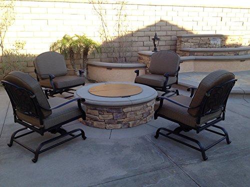 Elizabeth Outdoor Patio 4 Club Rocker Chairs Spring Base Cast Aluminum Dark Bronze Walnut