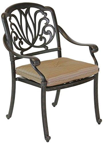 Elizabeth Outdoor Patio Dining Chair Cast Aluminum Dark Bronze Set of 4 Walnut Cushions