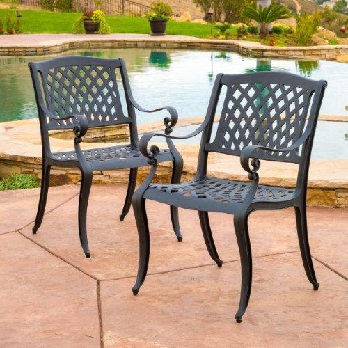 Marietta Outdoor Cast Aluminum Dining Chairs set Of 2