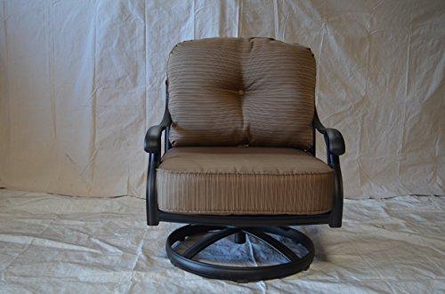 Nassau Outdoor Patio Set of 4 Swivel Rocker Club Chairs Dark Bronze Solid Cast Aluminum Walnut Cushions