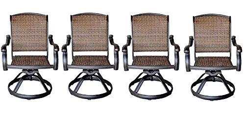 Patio Outdoor Santa Clara Swivel Rocker Dining Chairs Set of 4 Solid Cast Aluminum Furniture Dark Bronze