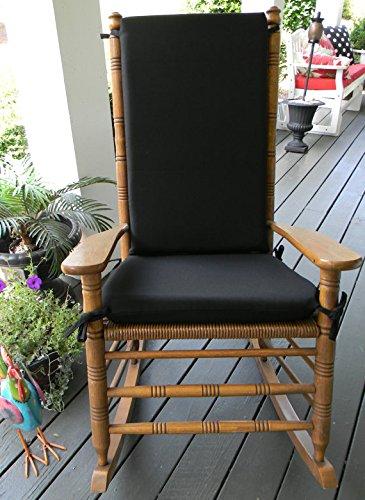 Indoor  Outdoor Solid Color Rocking Chair 2 Pc Foam Cushion Set ~ Fits Cracker Barrel Rocker - Choose Color Black