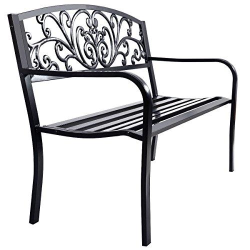 Giantex 50&quot Patio Park Garden Bench Porch Chair Steel Frame Cast Iron Backrest