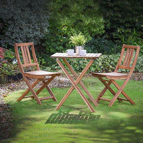 Plant Theatre Folding Hardwood Bistro Set Garden Patio Tableamp Chairs - Superb Quality