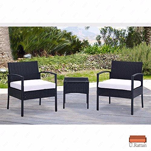 Urattan 3pc Rattan Wicker Furniture Tableamp Chair Set Cushioned Patio Outdoor Garden