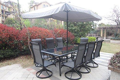 10pc Cast Aluminum Patio Set With Umbrella - Black