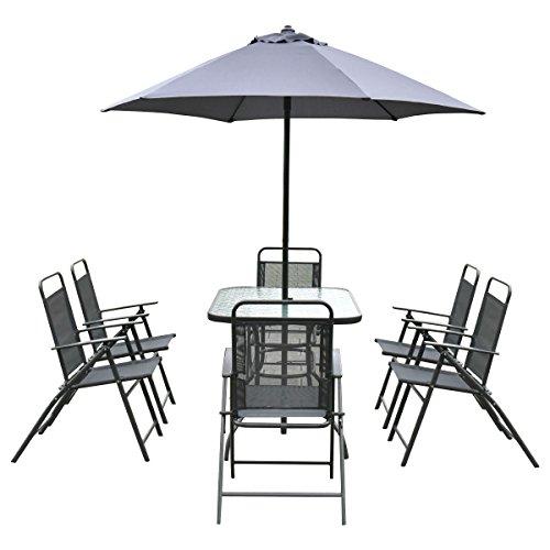 Giantex 8pcs Patio Garden Set Furniture 6 Folding Chairs Table With Umbrella Gray New