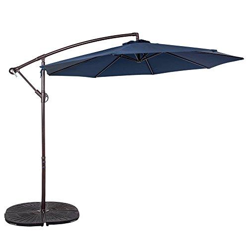 Sundale Outdoor 10 Feet Aluminum Offset Patio Umbrella With Crank 8 Steel Ribs navy Blue