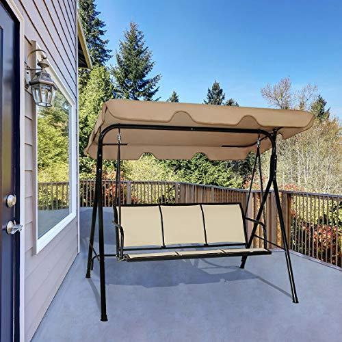 AlekShop Outdoor Swing Chair Sofa Sling Awning 3 Person Adjustable Canopy Rocker Patio Porch Furniture Hammock Steel Lounge Garden Yard
