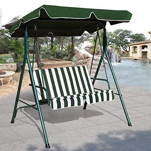 AlekShop Outdoor Swing Glider Awning 2 Person Chair Loveseat Canopy Patio Porch Furniture Hammock Cushioned Steel Lounge Garden Yard Green