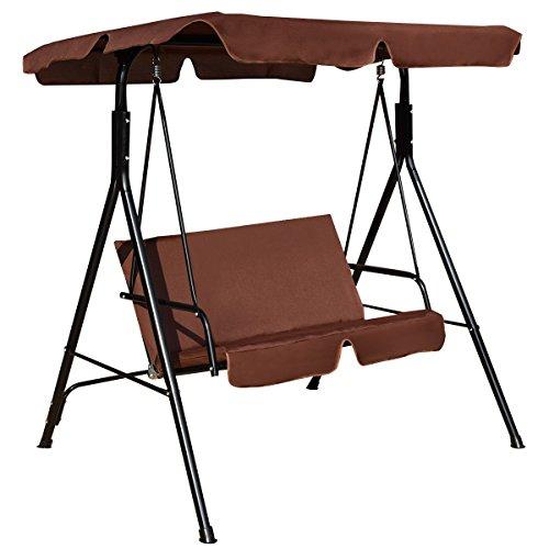 AlekShop Outdoor Swing Loveseat Chair 3 Person wTop Canopy Patio Porch Furniture Hammock Cushioned Steel Frame Lounge Garden Yard