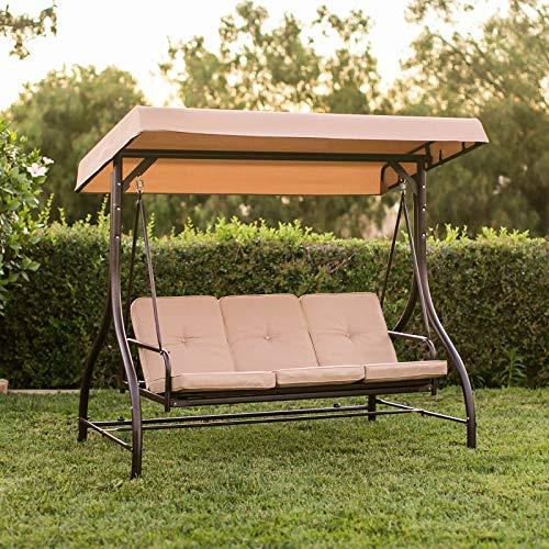 AlekShop Steel Outdoor Swing Sling Fabric 3 Person Beige Chair Sofa Canopy Patio Porch Furniture wConvertible Flatbed Backrest Lounge LoveSeat Garden Yard