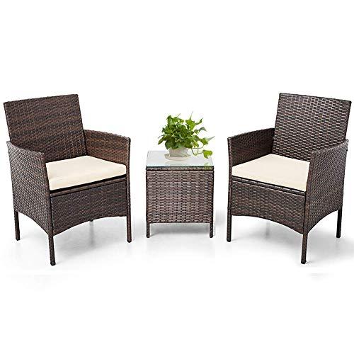 BonusAll 3 Piece Brown Patio Porch Furniture Wicker Bistro Rattan Chair with Coffee Table Outdoor Garden Furniture Sets