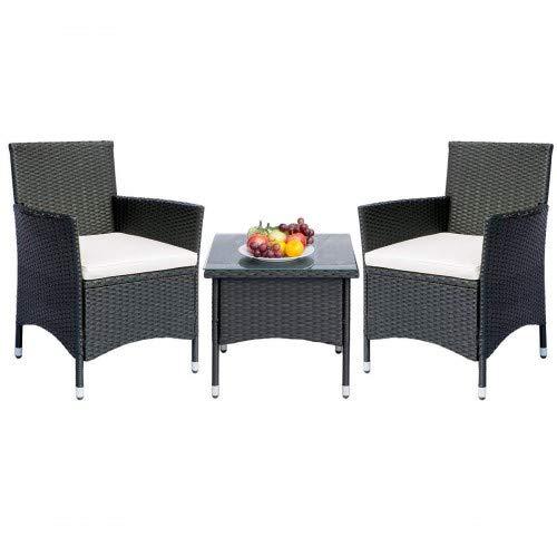 Merax Patio Porch Furniture Sets 3 Pieces PE Rattan Wicker Chairs with TableOutdoor Garden Furniture SetsBeige Cushion 333 Inch