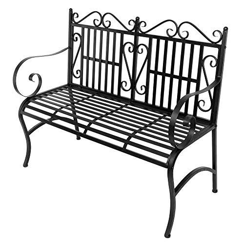 Metal Garden Bench Outdoor Patio Furniture Back Yard Iron Porch Seat Steel
