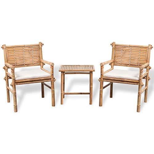 yorten 3 Piece Bistro Set Patio Porch Furniture Set with Cushions Bamboo Outdoor Garden Furniture Sets