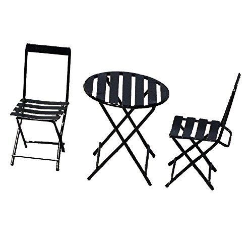 Provence BF2791 Iron Mini Fairy Garden Table Chair Set of 3 Black