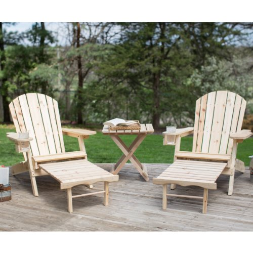 Adirondack Chair Set With A Free Side Table Included Natural Finish These Unfinished Chairs With Ottoman Features